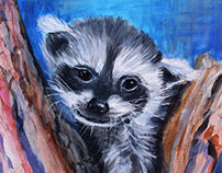 Raccoon Painting by Julie Bonner