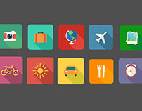 Vacation Themed - Flat icons
