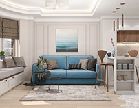 Design two-room apartment in gray-blue scale