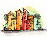 Lápices de colores y acuarelas