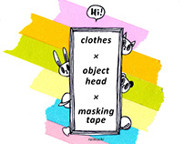 clothes x object head x masking tape