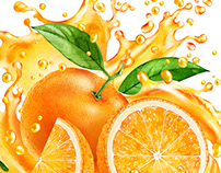 Watercolor illustrations for juice