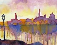 Firenze, dawn, from Lungarno Benvenuto Cellini