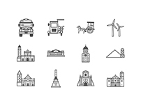 Philippine Landmarks and Transportation Icon Set