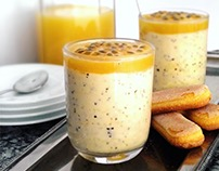 Passion fruit & white chocolate mousse.