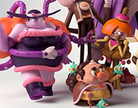 Nine 3d Characters