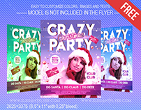 Free Christmas Crazy party – Flyer PSD Template + Faceb