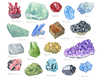Minerals Alphabet Watercolor Illustration