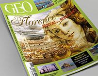 """Mise en page de magazine factice """"Géo""""."""