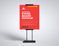 Free Advertising Stand Board Mockup