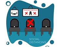 Social distancing corona illustration