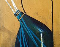 Still life with blue bottle of chopsticks