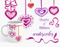 FREE WATERCOLOR HEARTS AND RIBBONS