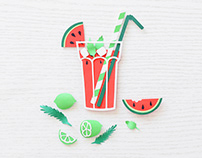 Watermelon Drink | Paper art