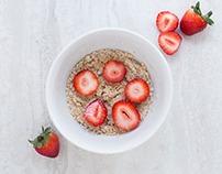 Bild von Haferflocken an Erdbeern