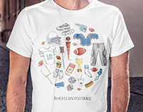 American football sketchy print for men T-shirt