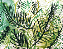 Green Leaves Hand Painted Surface Design