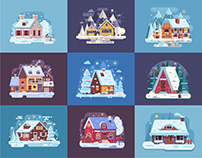 Cozy Winter Homes Illustrations