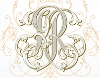 Handlettered KR monogram design