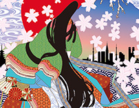 Figure of Jyuni-hitoe, Fuji & Sakura.