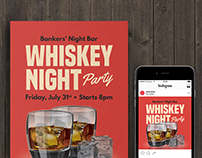 Whiskey Nigght Party Flyer Templates