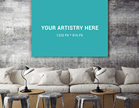 Poster Mockup On Rough Wall - Free PSD