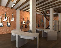 Guitar store Interior 3D visualization