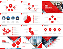 4 in 1 red annual report PowerPoint templates download