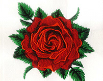 Red Rose Flower Digital Embroidery Design