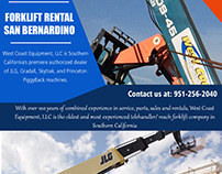 Forklift Rental San Bernardino||westcoastequipment.us||