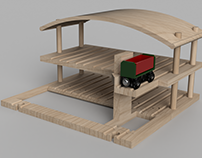 Wooden Train Lift and Garage