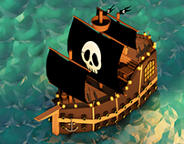 Pirate Ship - Low Poly