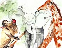 Animais em aquarela