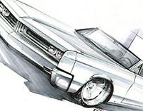 '67 Chrysler Newport b&w Sketch