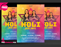 Holi Music Party Flyer PSD Template