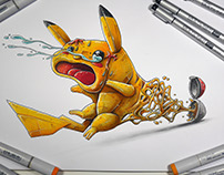 """Pikachu get catched"" a copic marker illustration"