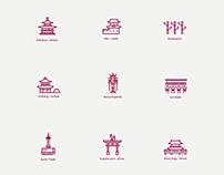 Kyoto tourist attraction - Icon design