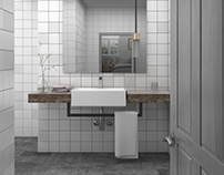 Model+Render of SP34 Hotel bathroom.