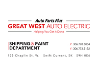 Great West Auto Electric Business Cards