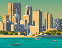Pittsburgh USA Retro Travel Poster Illustration