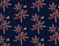 Flowers & Bees - surface pattern design for fabric