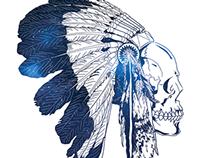 Indian Skull Night Sky T-shirt