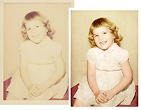 Restoration of a faded, discoloured photograph
