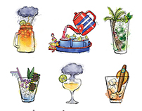 Illustrations for Cocktail Menu