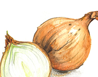 A pair of onions, vegetables