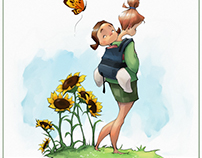mom,daughter,butterfly,sunflower