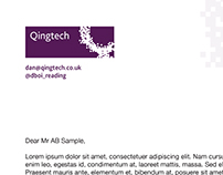 Qingtech logo and stationery design