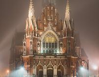 Church in fog or smog