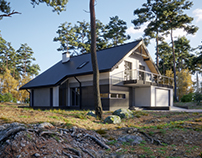 Single family house in forest