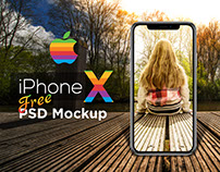 Realistic iPhone X Free PSD Mockup